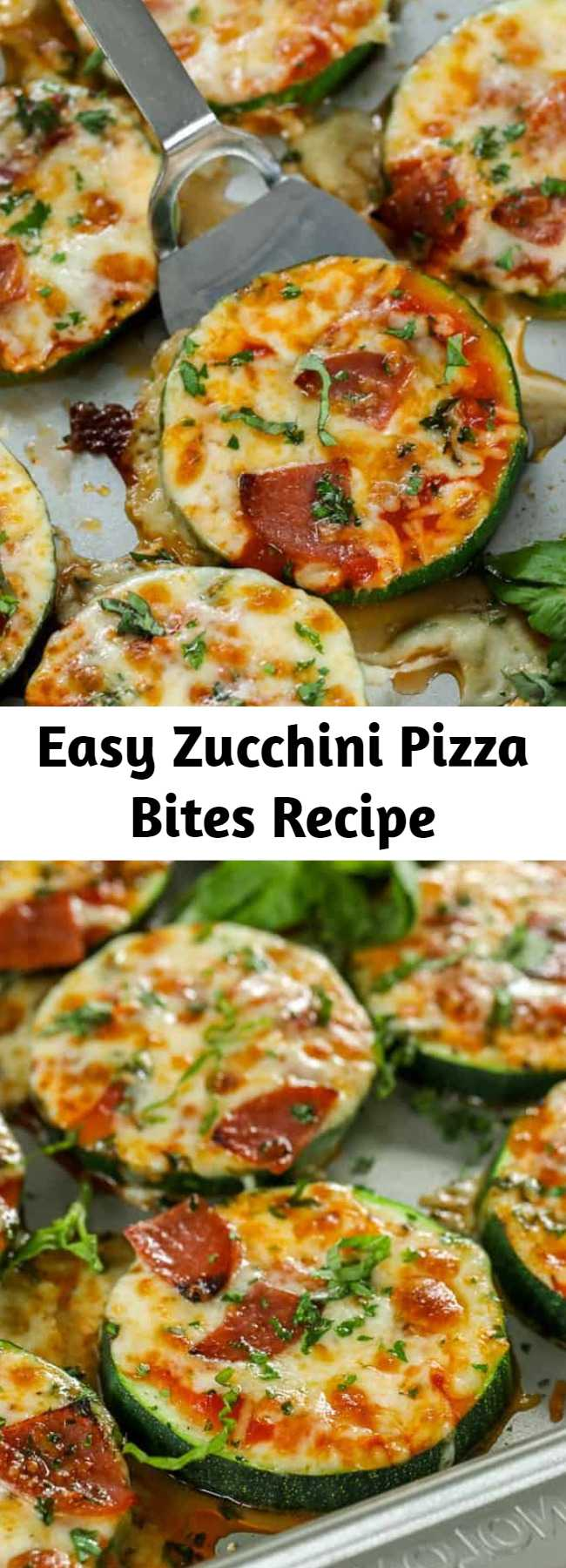 Easy Zucchini Pizza Bites Recipe - Zucchini Pizza Bites are one of our favorite snacks! These delicious pizza bites are topped with our favorite toppings and plenty of cheese for the perfect low carb pizza fix! #keto #zucchini #zucchinipizzabites #zucchinipizza #pizzabites