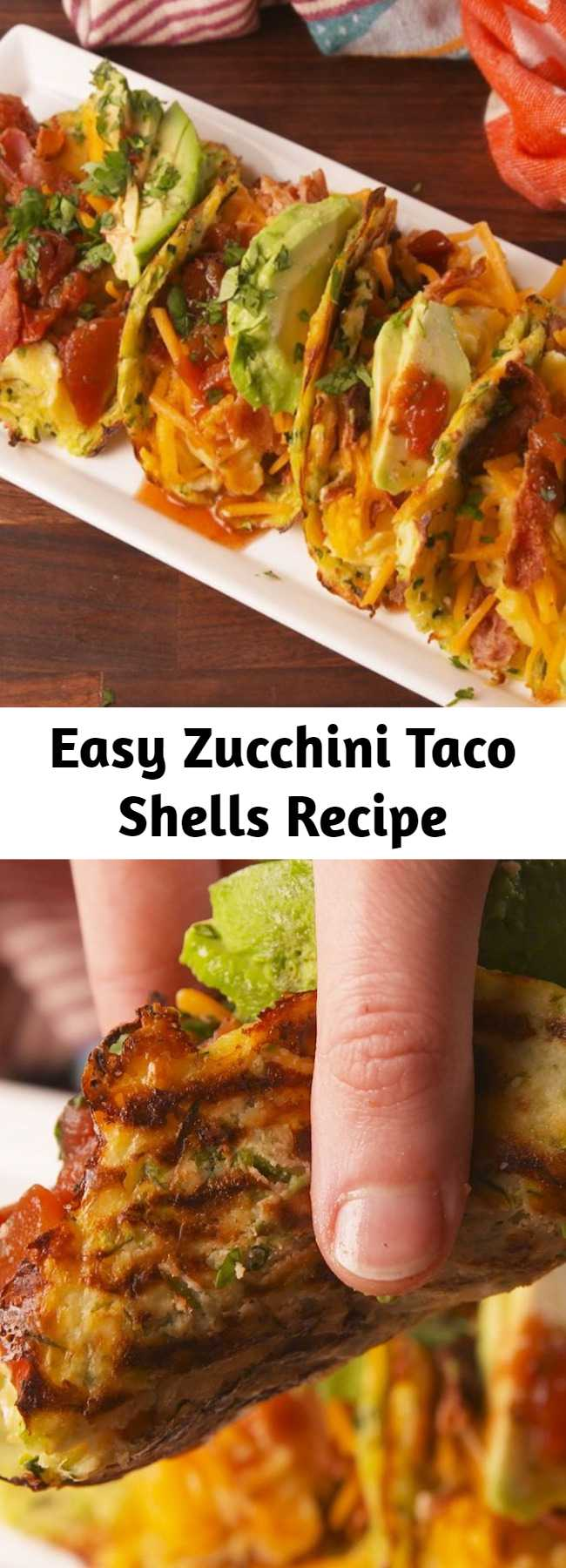 Easy Zucchini Taco Shells Recipe - Turn zucchini into taco shells for your next taco night. #easy #recipe #healthy #zucchini #taco #tacoshells #diet #lowcarb #lowcarbdiet