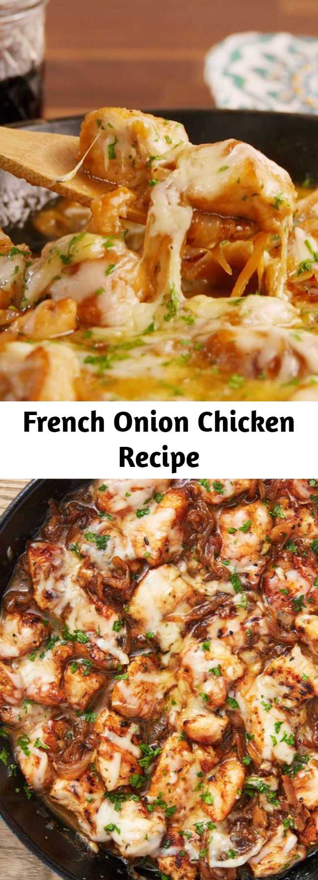 French Onion Chicken Recipe - We love that this recipe comes together in one skillet and in less than an hour, meaning it's WAY faster than French Onion Soup. Dunking good bread into the extra pan sauce is highly encouraged. #easy #recipe #french #onion #chicken #frenchonion #soup #meals #dinner #cozy #comfortfood