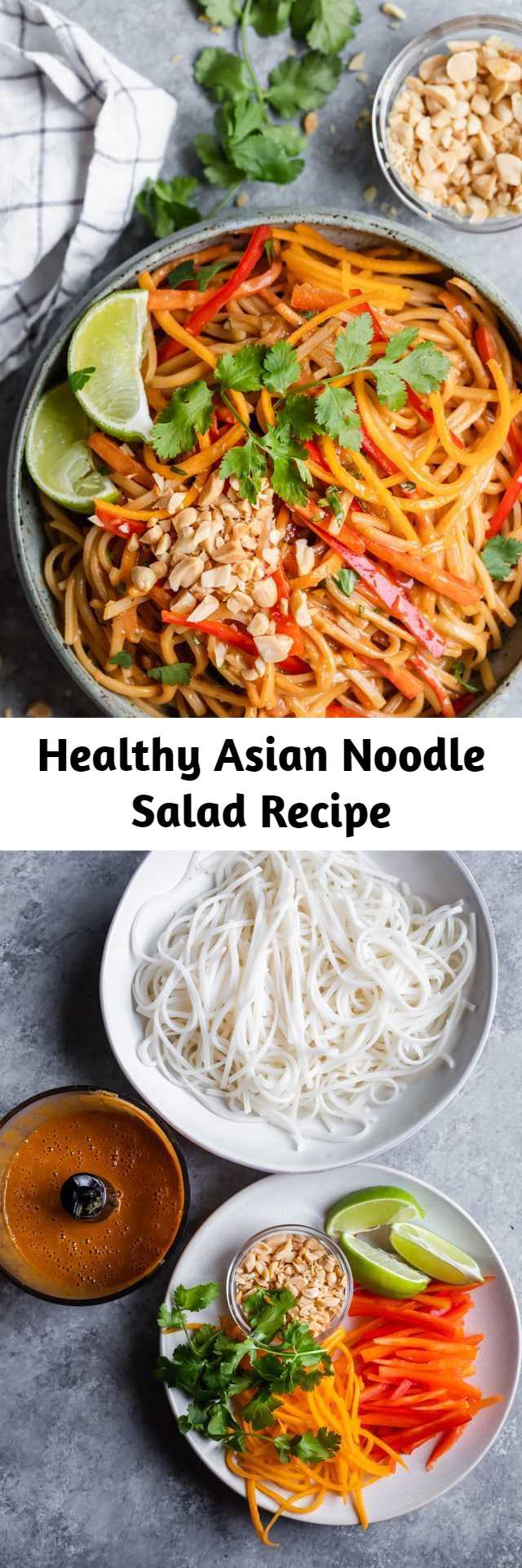 Healthy Asian Noodle Salad Recipe - This bright and colorful Asian Noodle Salad is a gluten-free vegan meal that's filled with fresh vegetables and tossed in a spicy creamy nutty dressing #noodles #asianfood #healthyrecipes #salad