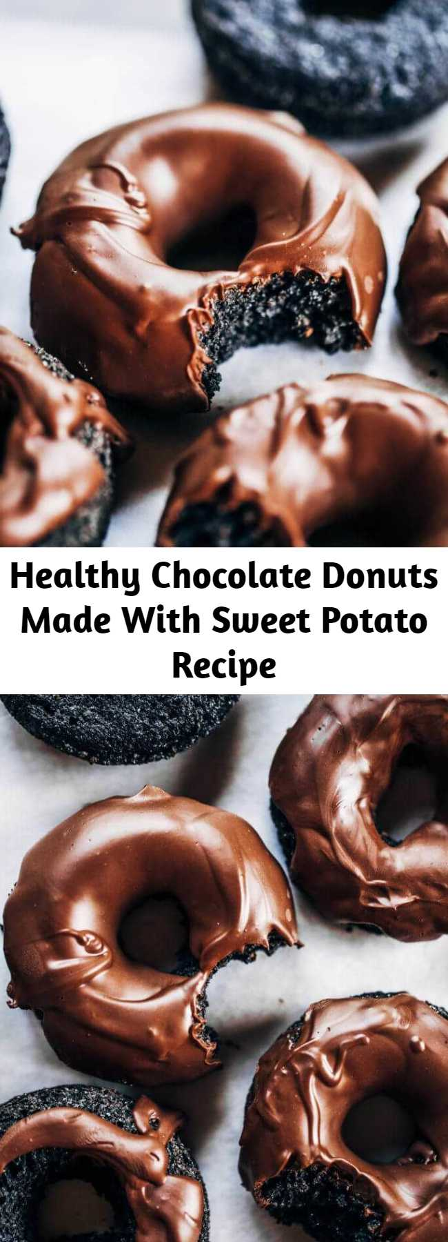 Healthy Chocolate Donuts Made With Sweet Potato Recipe - Healthy paleo chocolate glazed donuts made with sweet potato instead of flour! Easy baked donut recipe perfect for celebrations! #paleo #donuts #baking #recipes #cooking
