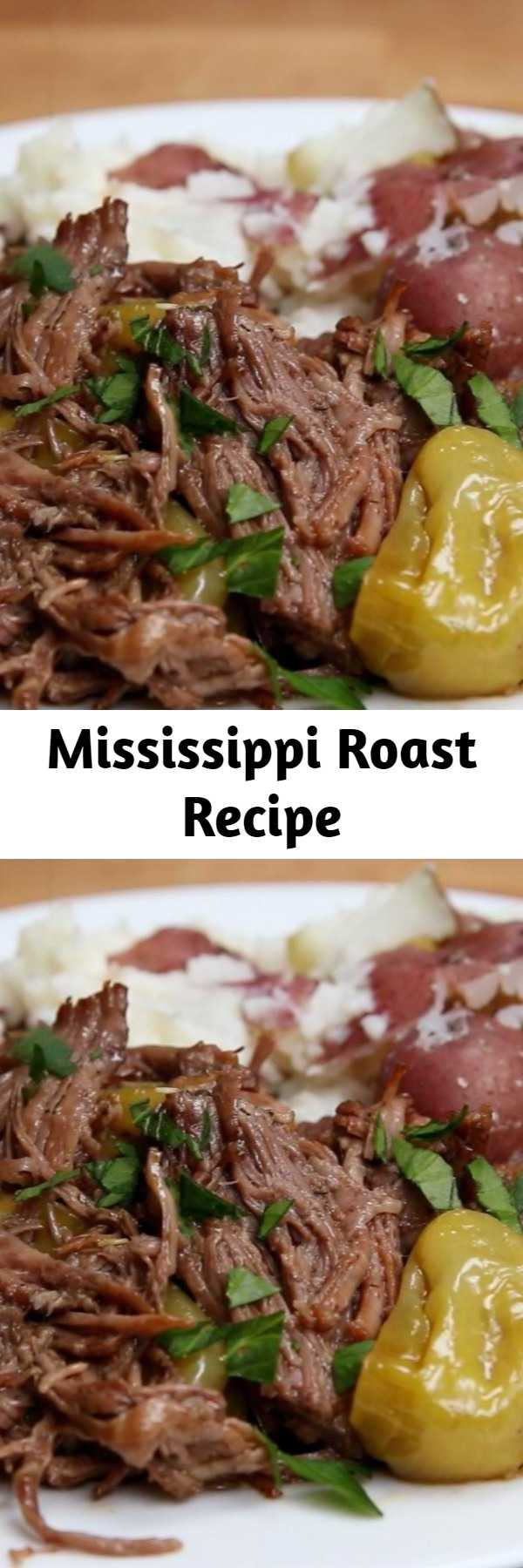 Mississippi Roast Recipe - The best roast you've ever had in your entire life. You need to make this ASAP! Simple ingredients, zero effort, 100% dinner & leftover satisfaction!