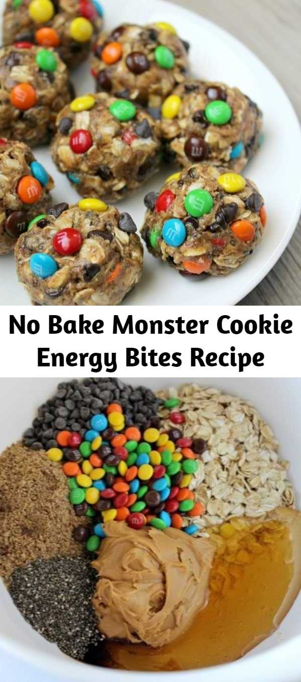 No Bake Monster Cookie Energy Bites Recipe - No-Bake Monster Cookie Energy Bites are packed full of healthy energy-boosting ingredients! Kid-approved!
