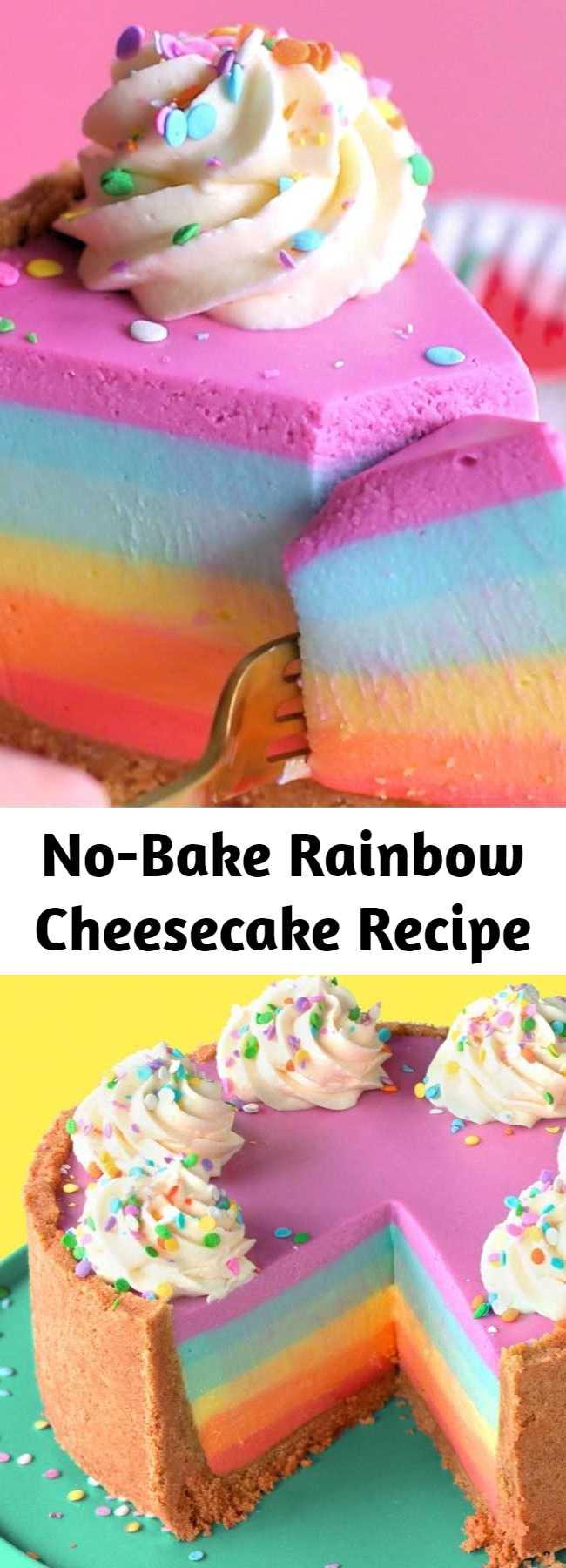 No-Bake Rainbow Cheesecake Recipe - A no-bake white chocolate rainbow cheesecake that's super simple to make!