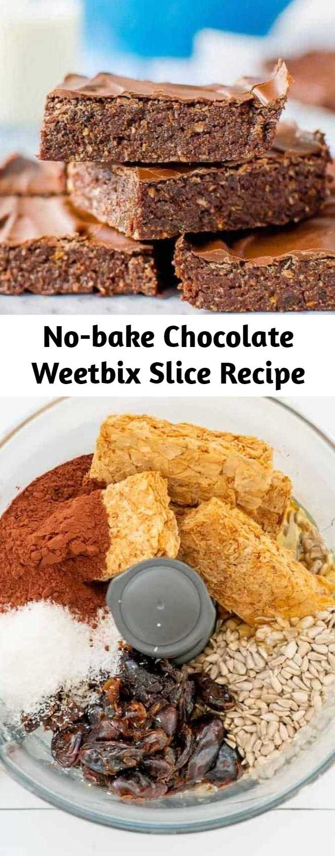 No-bake Chocolate Weetbix Slice Recipe - No-bake chocolate Weetbix slice, easy kid-friendly recipe made with Weetabix, or wheat biscuit breakfast cereal.