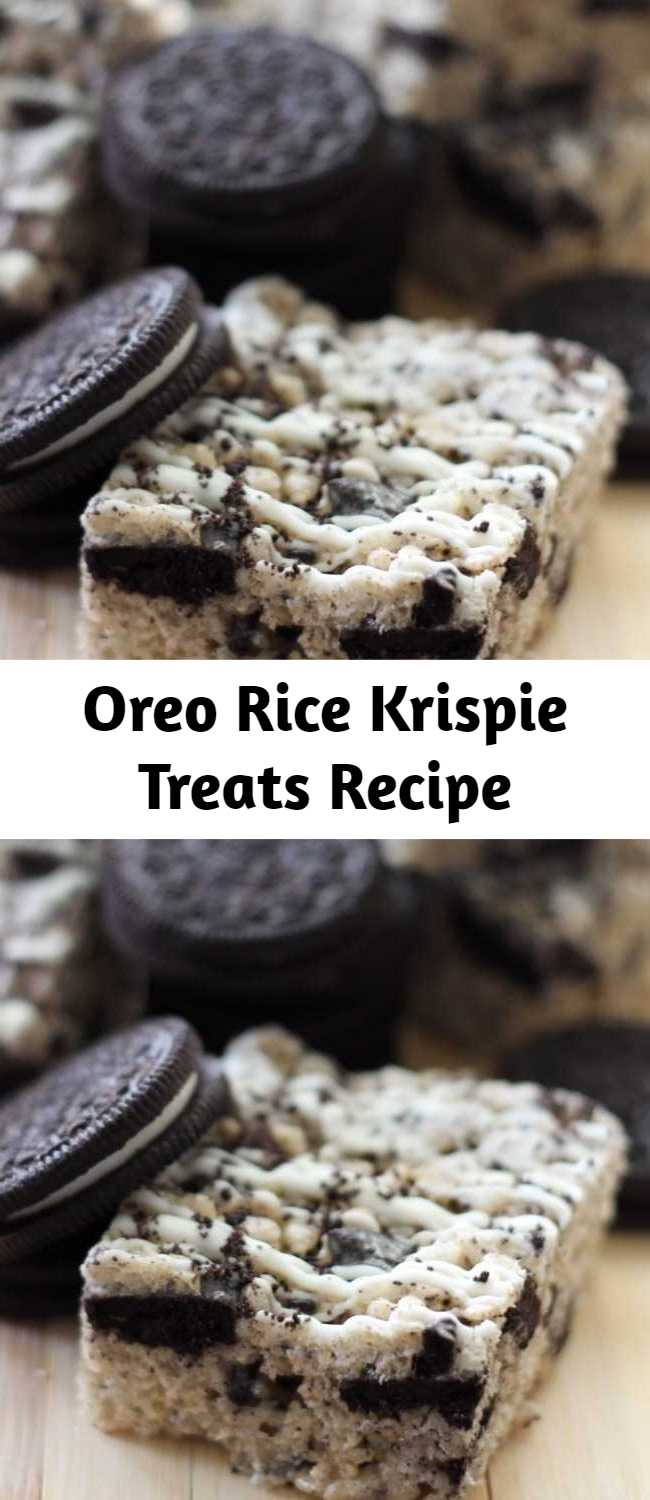 Oreo Rice Krispie Treats Recipe - This recipe is amazing. As if rice krispie treats weren't delicious enough, the Oreos add the perfect touch of flavor and texture to jazz up this basic treat. The Oreos give this classic recipe the new perfect spin.