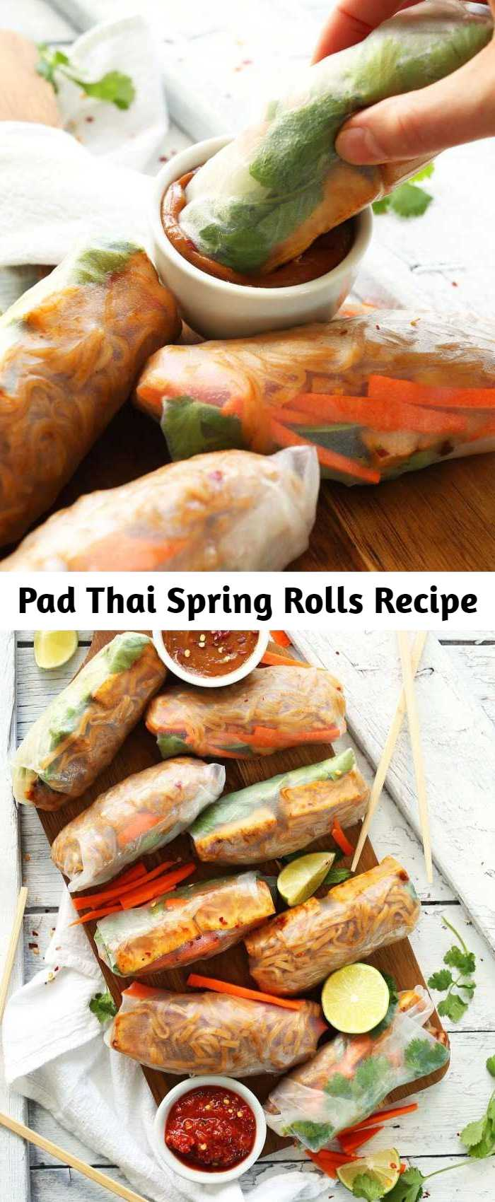 Pad Thai Spring Rolls Recipe - Amazing 10-ingredient pad Thai spring rolls with spicy-sweet noodles, crispy baked tofu, and fresh carrots and herbs! A healthier vegan, gluten free entree.