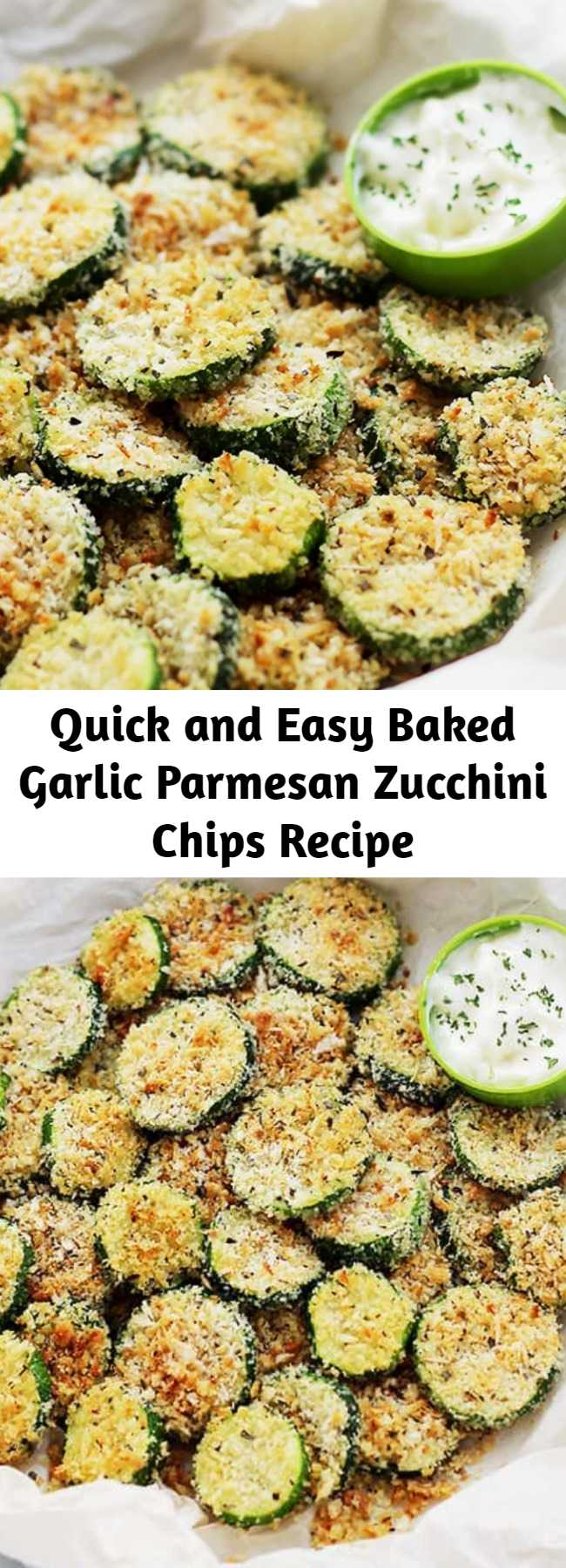 Quick and Easy Baked Garlic Parmesan Zucchini Chips Recipe - Crispy and flavorful baked zucchini chips covered in seasoned panko bread crumbs with garlic and Parmesan. #zucchini #chips #healthyrecipes