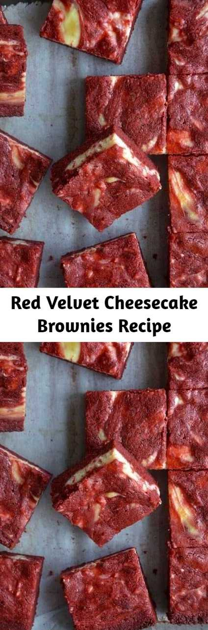 Red Velvet Cheesecake Brownies Recipe - These brownies are the most requested dessert for family gatherings! I've repeatedly shared the recipe and have received nothing but amazing reviews from everyone that makes them. Everyone assumes they are complex to make and it totally blows my image once they see how simple it is!