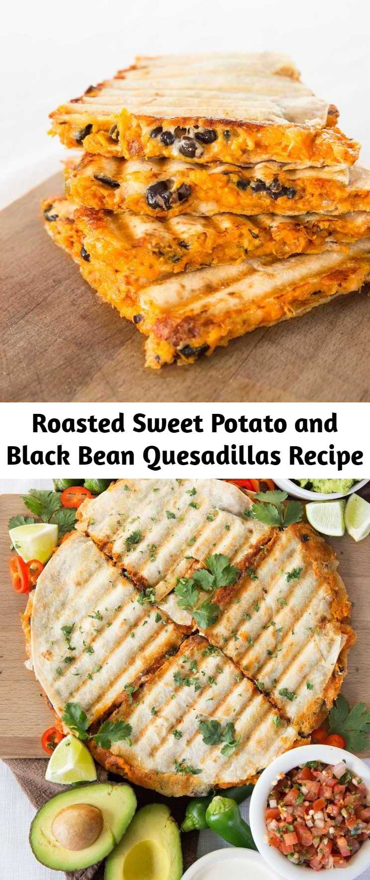 Roasted Sweet Potato and Black Bean Quesadillas Recipe - Roasted Sweet Potato and Black Bean Quesadillas are the best vegetarian quesadillas you'll ever taste. So easy to make and most importantly incredibly delicious and filling! #sweetpotato #quesadillas #vegetarian #vegetarianquesadillas #sweetpotatoquesadillas
