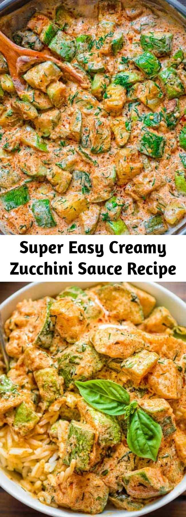 Super Easy Creamy Zucchini Sauce Recipe - This Creamy Zucchini Sauce is bursting with flavor! Made with paprika-roasted zucchinis, sour cream, garlic, and fresh herbs, it tastes great with pasta, over rice, or just with a slice of bread. #zucchini #dinner #lunch #whole30 #keto #ketosis #ketorecipe #vegetarian #mealprep #healthyrecipe