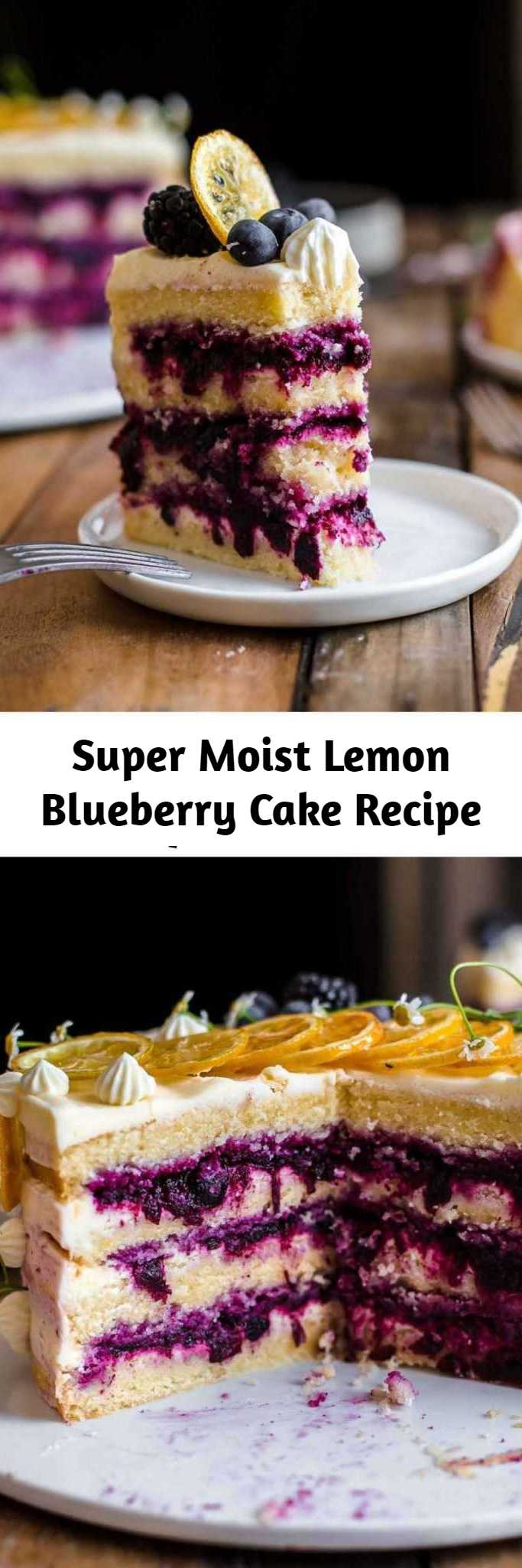 Super Moist Lemon Blueberry Cake Recipe - This Lemon Blueberry Cake is tangy, sweet, super moist, and creamy. It's a delicious and beautiful cake. It comes with soft lemon cake layers, a sweet blueberry filling, and an ultra creamy lemon cream cheese frosting. #lemon #blueberry #cake #creamcheesefrosting #baking #sweets #dessert