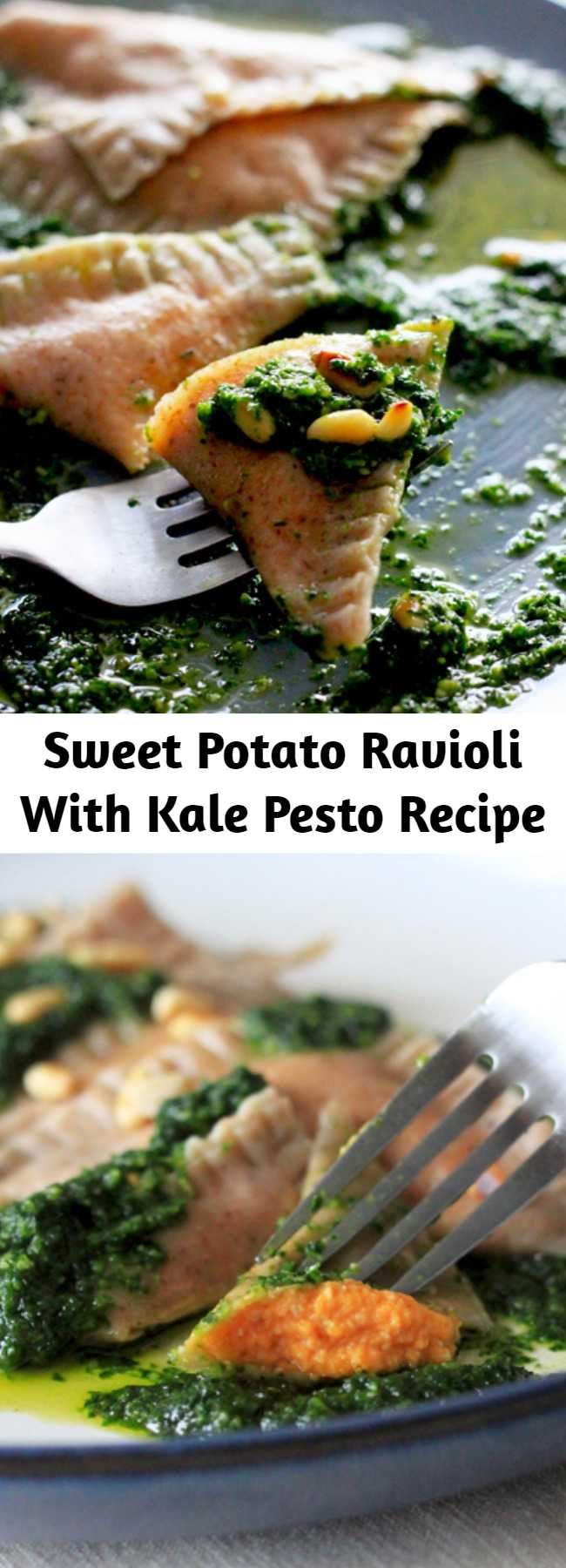 Sweet Potato Ravioli With Kale Pesto Recipe - This recipe uses a whole cup of pine nuts. I know they can be expensive, so feel free to swap in the nuts/seeds of your choosing (walnuts would be delicious). Most grocery stores carry decent quality fresh lasagna sheets in the refrigerated section if you don't have a pasta roller at home (or don't feel like making an extra hour of work for yourself). #healthy #dinner #recipe