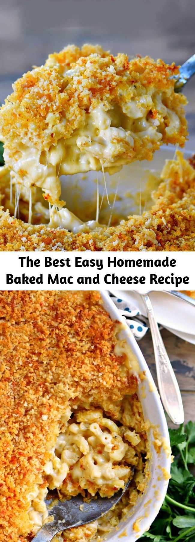 The Best Easy Homemade Baked Mac and Cheese Recipe - The BEST Homemade Mac and Cheese of your LIFE. Outrageously cheesy, ultra creamy, and topped with a crunchy Panko-Parmesan topping, this mac and cheese recipe is most definitely a keeper. I used three different cheese and a homemade cheese sauce to take this macaroni and cheese recipe over the top. #recipe #recipes #dinner #cheesy #macandcheese #macaroni #entree #kidfriendly
