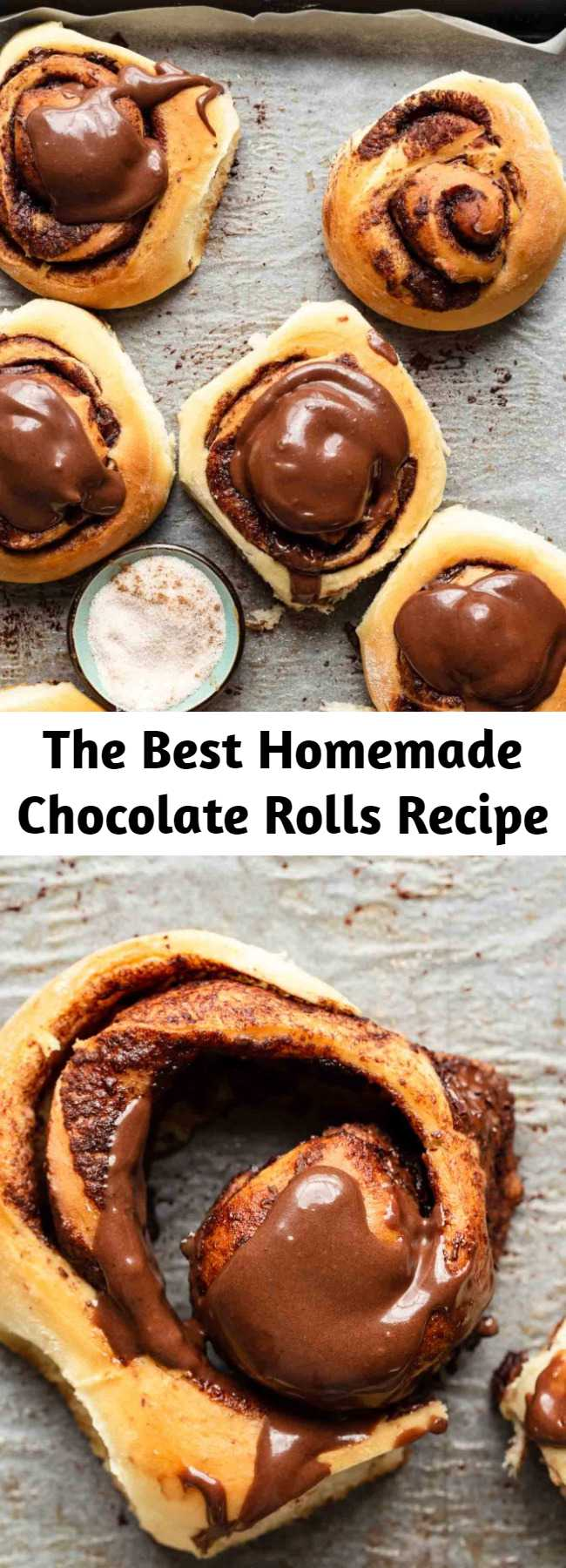 The Best Homemade Chocolate Rolls Recipe - The aroma of these homemade chocolate rolls, while they are baking, is heavenly! Once you bite into these delicious chocolate cinnamon rolls, you will be shocked to know they are so easy to make. You only need 30 minutes of prep time! #baking #cinnamonrolls #chocolate #sweet #desserts