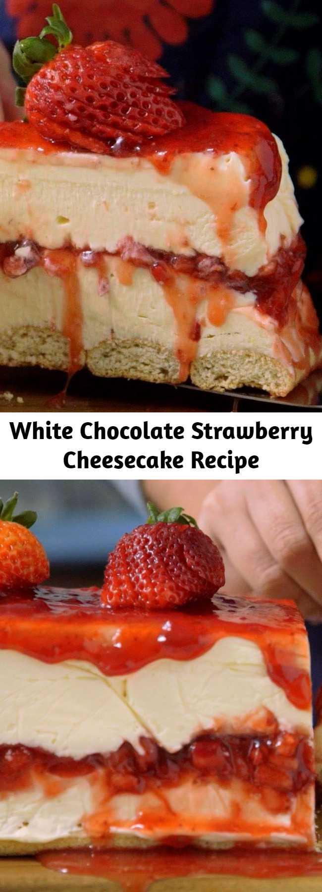 White Chocolate Strawberry Cheesecake Recipe - Creamy white chocolate makes a classic strawberry dessert even more irresistible.