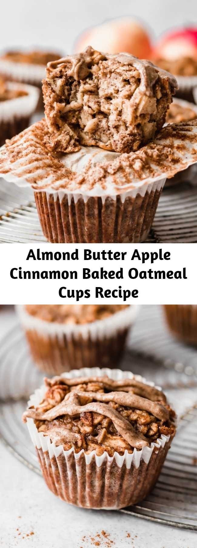 Almond Butter Apple Cinnamon Baked Oatmeal Cups Recipe - Easy apple cinnamon baked oatmeal cups made with applesauce, fresh apples, oats, maple syrup and almond butter for a boost of protein + flavor. Freezer-friendly, great for kids or meal prep! #mealprep #freezerfriendly #oatmeal #oatmealcups #almondbutter #applerecipe #apples #kidfriendly #glutenfree
