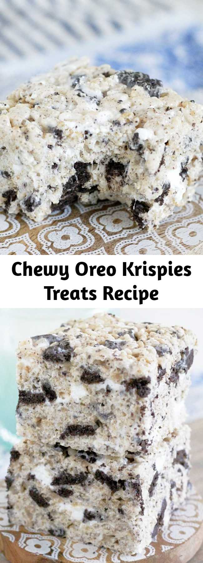 Chewy Oreo Krispies Treats Recipe - This is the classic Krispie treat recipe on steroids with the addition of crushed OREO cookies. Thick, chewy and completely irresistible. #ricekrispietreats #oreokrispies