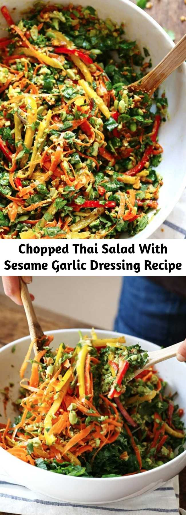 Chopped Thai Salad With Sesame Garlic Dressing Recipe - This Chopped Thai Salad with Sesame Garlic Dressing is THE BEST! A rainbow of power veggies with a yummy homemade dressing. #vegan #vegetarian #healthy #sugarfree #cleaneating