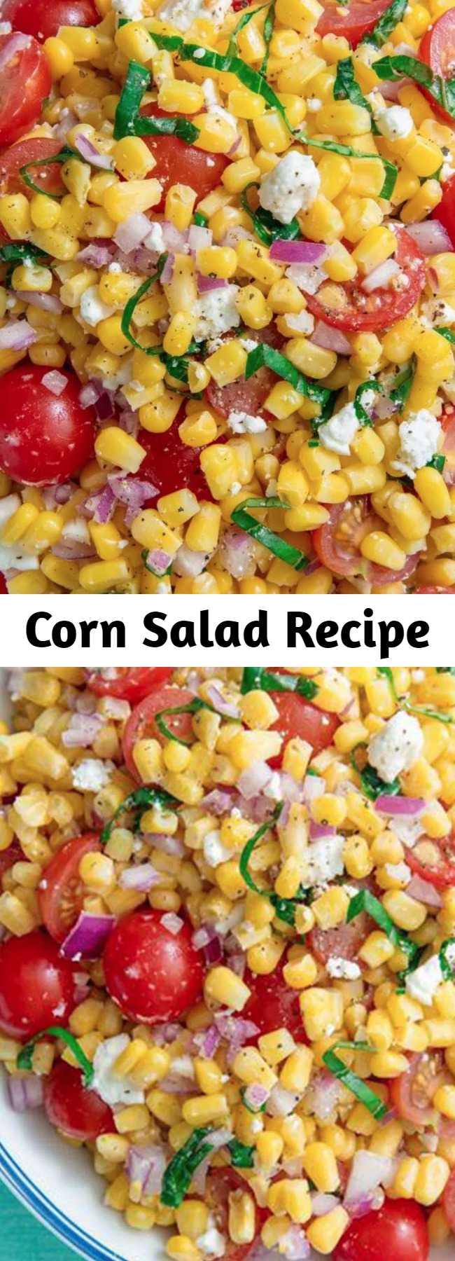 Corn Salad Recipe - Corn Salad makes the perfect summer dish for picnics, potlucks, or BBQs. So easy to make with no cooking involved! #easyrecipe #corn #summer #sidedish #salad