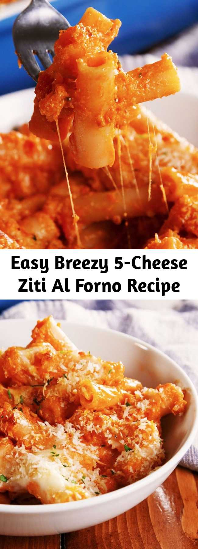 Easy Breezy 5-Cheese Ziti Al Forno Recipe - In case you missed it, copycat recipes are kind of our speciality. And this one tastes just like Olive Garden's 5-Cheese Ziti Al Forno…maybe better! Our advice: Buy a jar of marinara but make your own alfredo! #easy #recipe #pasta #cheese #fivecheese #olivegarden #copycat #ziti #baked #dinner #italian #comfortfood #redsauce #pastasauce