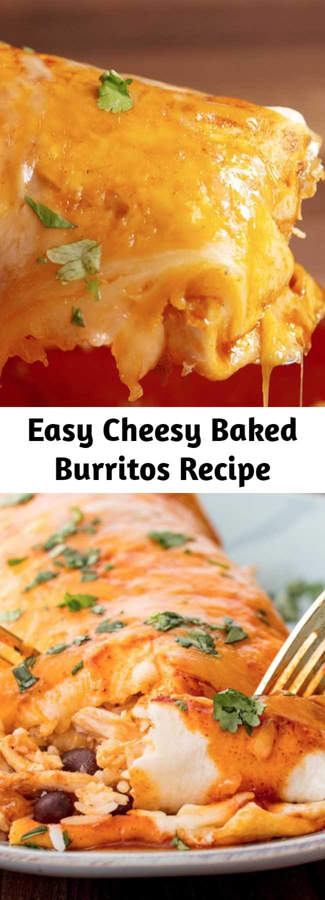 Easy Cheesy Baked Burritos Recipe - We're giving you the best possible reason to skip the line at Chipotle. Make these burritos ahead and put them in a baking dish to make for an entire group. #mexican #easy #recipe #cheesy #bakedburritos #burritos #familydinner #dinner