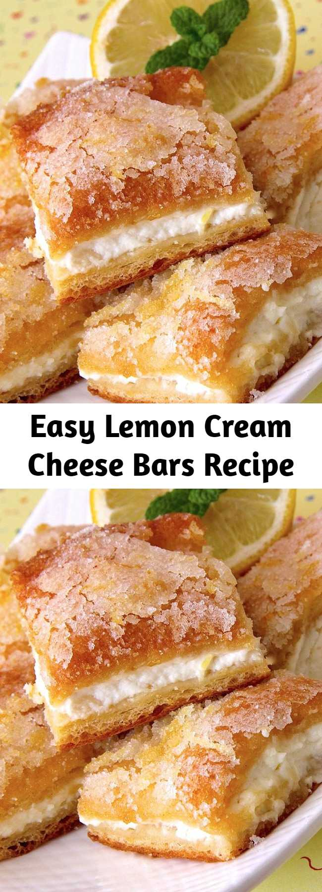 Easy Lemon Cream Cheese Bars Recipe - Lemon Cream Cheese Bars are tangy, sweet, soft, chewy and perfectly delicious. These tasty treats are always a crowd pleaser!