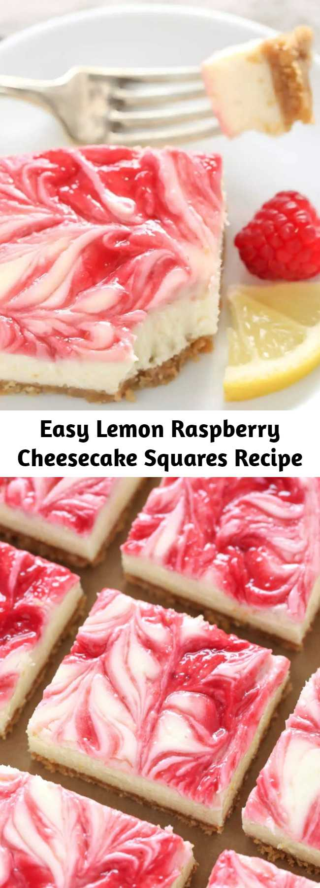 Easy Lemon Raspberry Cheesecake Squares Recipe - These Lemon Raspberry Cheesecake Squares feature a creamy lemon cheesecake filling with a raspberry swirl topped on a homemade graham cracker crust.