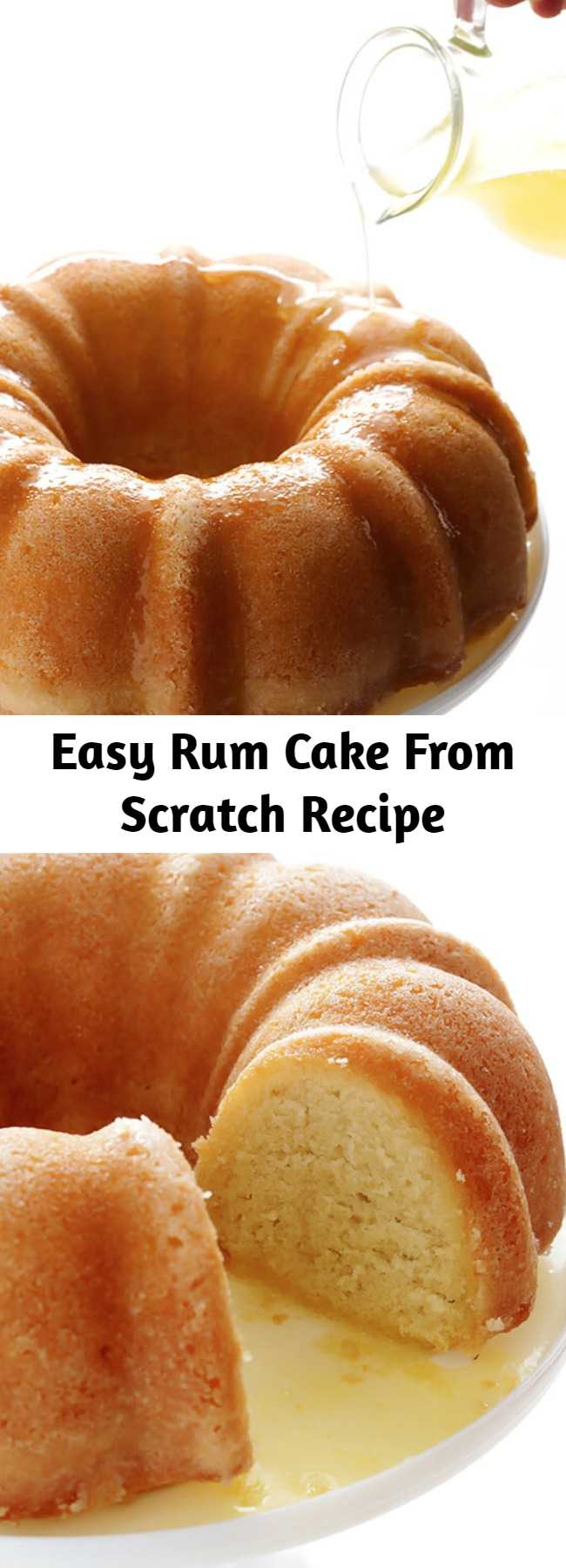 Easy Rum Cake From Scratch Recipe - This rum cake recipe is made from scratch, with rum baked into a delicious yellow bundt cake and drizzled with a butter-rum sauce.