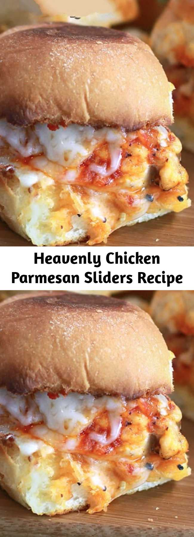 Heavenly Chicken Parmesan Sliders Recipe - Chicken Parmesan Sliders are sweet dinner rolls toasted with garlic butter and topped with Parmesan cheese. Slices of pan-fried chicken, marinara sauce and piles of mozzarella cheese top this picture perfect slider. It is a simple recipe that is absolutely heavenly and party-ready! #sliders #chickenparmesan