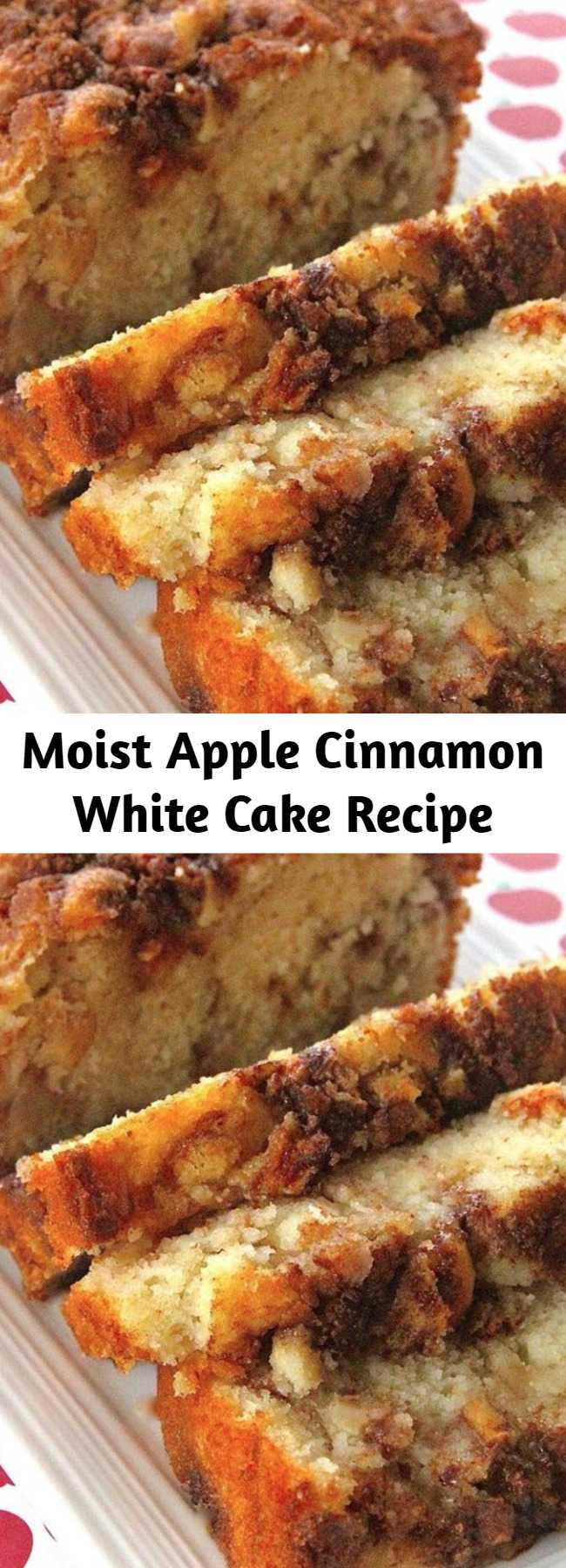 Moist Apple Cinnamon White Cake Recipe - A buttery white cake that comes together in minutes but tastes like you spent all day making it. Adding apples and cinnamon with brown sugar in layers makes this cake into an autumn delight. A scoop of ice cream is especially good with this cake.