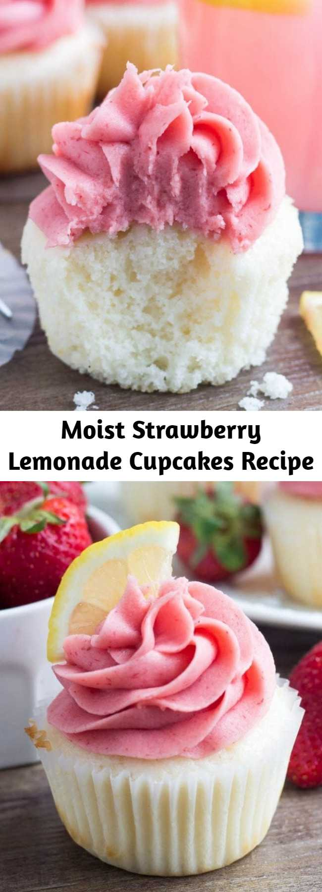Moist Strawberry Lemonade Cupcakes Recipe - These Strawberry Lemonade Cupcakes are so pretty and perfect for spring or summer. They start with fluffy, moist lemon cupcakes. Then they're topped with strawberry frosting made from fresh berries!