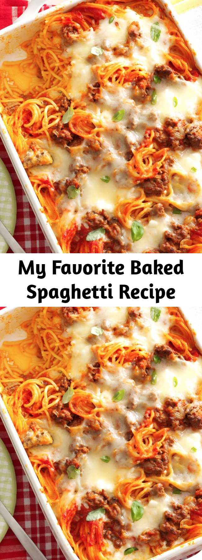 My Favorite Baked Spaghetti Recipe - This yummy baked spaghetti casserole will be requested again and again for potlucks and family gatherings. It's especially popular with my grandchildren, who just love baked spaghetti with all the cheese.