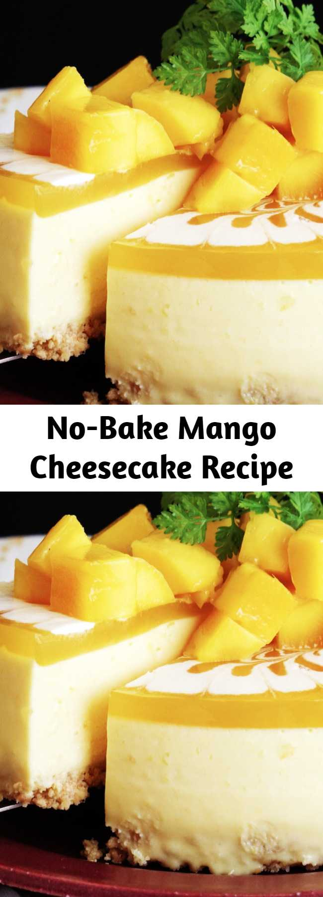 No-Bake Mango Cheesecake Recipe - Let this Mango Cheesecake take you to sweet, fruit paradise. Super easy and no bake makes this the perfect summer dessert.