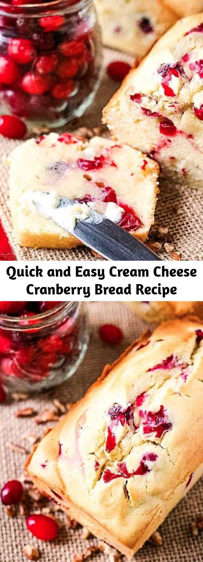 Quick and Easy Cream Cheese Cranberry Bread Recipe - This sweet cream cheese bread compliments the tart cranberries it's loading with resulting in an amazing Cream Cheese Cranberry Bread! If you are looking for a new quick bread recipe that is perfect for the fall and Thanksgiving you have found it. It's so amazingly soft and tender, plus quick and easy to make. I love a big slice with butter and a mug of coffee or for a quick snack in the afternoon! #cranberry #bread
