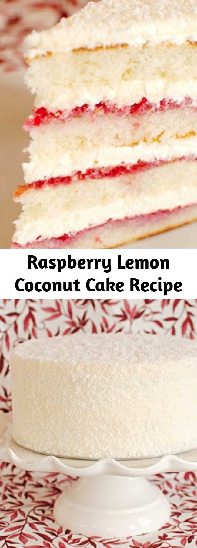 Raspberry Lemon Coconut Cake Recipe - This cake wasn't too fussy--well relatively, we are talking about a layer cake here--and it came together quickly and easily. Layers of raspberry preserves and lemon buttercream decorated simply with a little coconut. No piping tips needed.