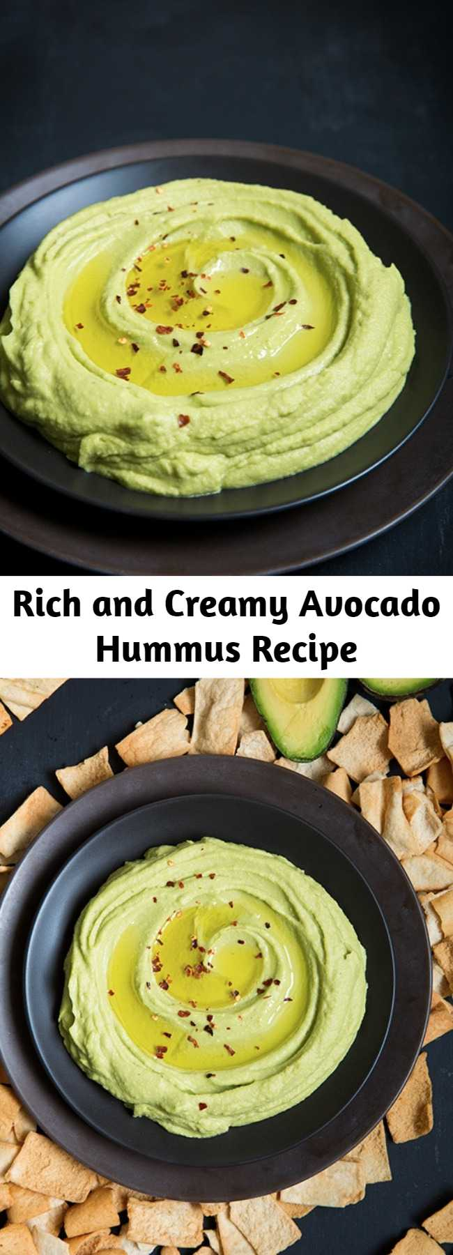 Rich and Creamy Avocado Hummus Recipe - This is the best hummus! It's rich and creamy and packed with that irresistible avocado flavor. Think hummus meets guacamole, I mean what more could you want? Perfect dip for veggies or pita chips or as a spread for your favorite sandwiches.