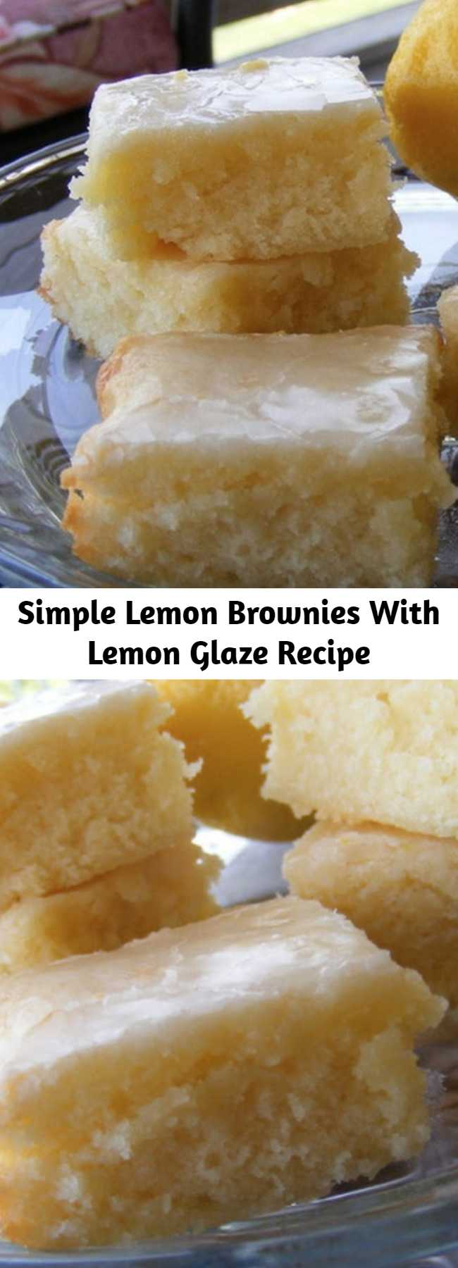 Simple Lemon Brownies With Lemon Glaze Recipe - Delicious and EASY to make Lemon Brownies with a sweet Lemon Glaze frosting that's so good you won't eat just one! Make these in minutes for your family!