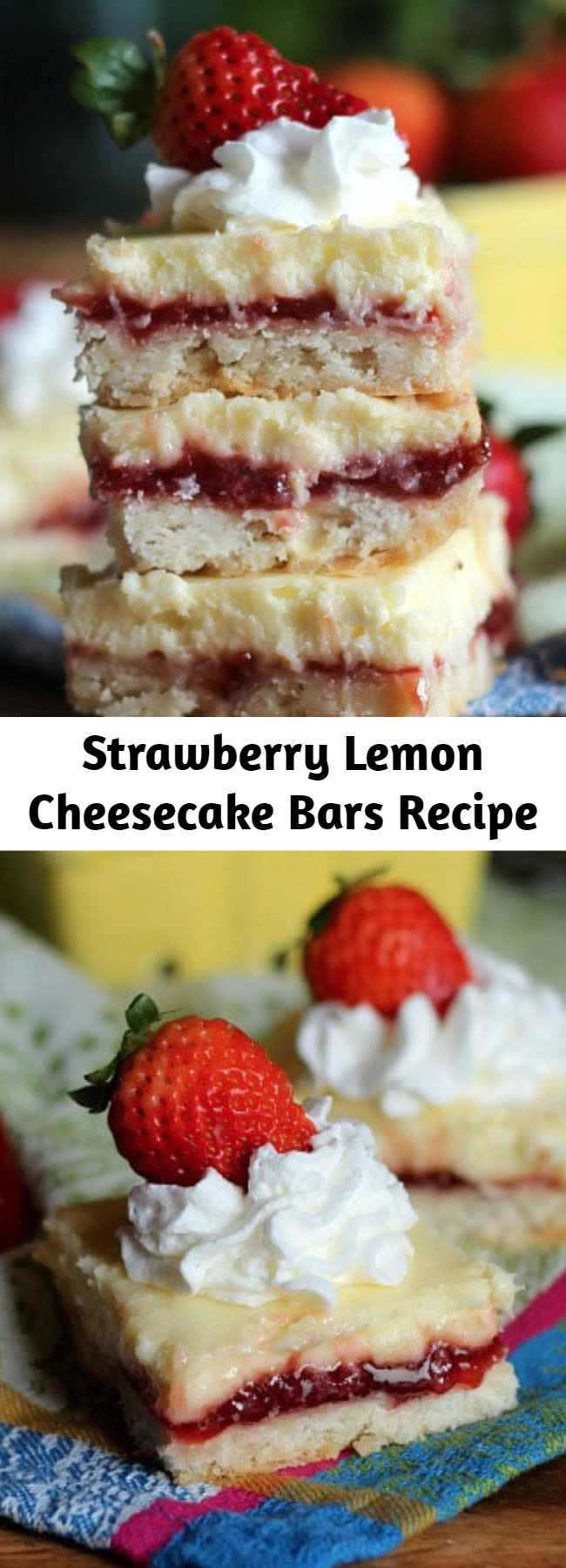 Strawberry Lemon Cheesecake Bars Recipe - Thick buttery graham cracker crust topped with lemon strawberry-swirled filling to make these delicious Strawberry Lemon Cheesecake Bars! Chill them for a tasty summer dessert!
