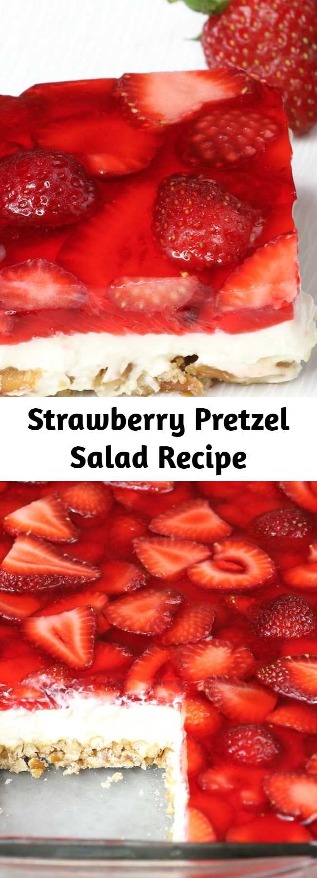 Strawberry Pretzel Salad Recipe - The delicious combination of the saltiness from its pretzel crust, sweetness from the creamy and smooth cream cheese, with the fresh flavor from the strawberry and jello top layer! So irresistible! #StrawberryPretzelSalad