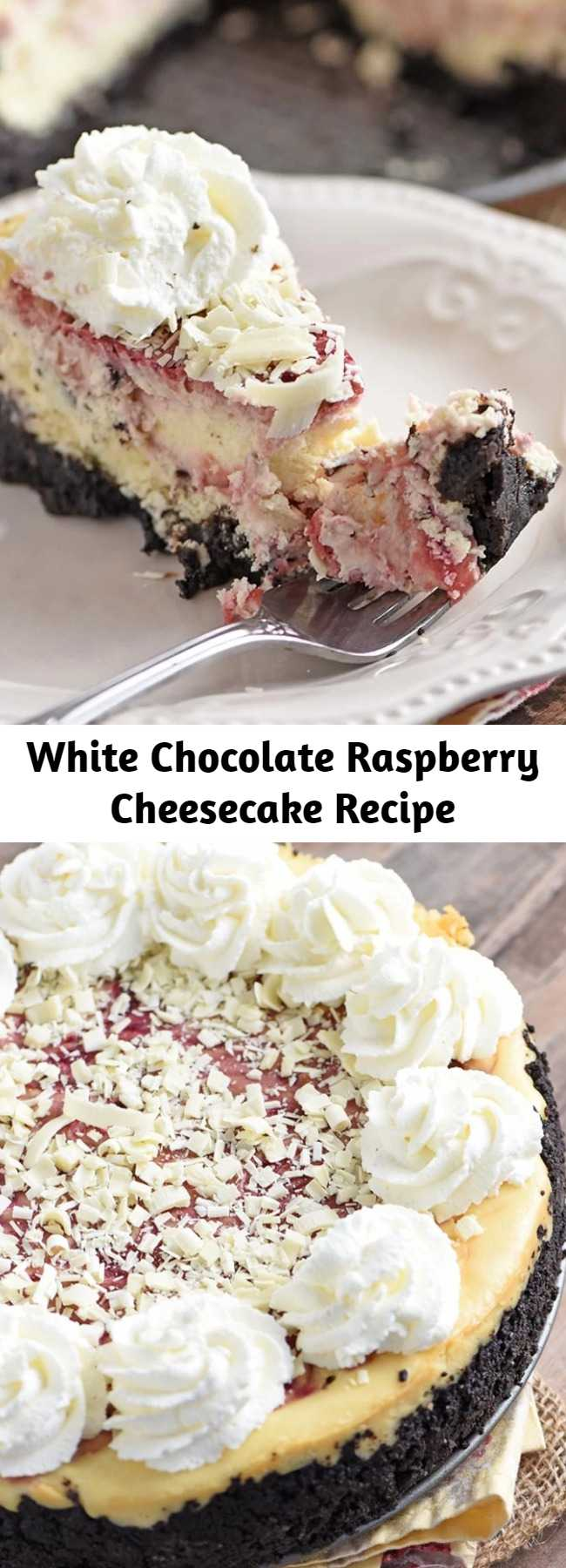 White Chocolate Raspberry Cheesecake Recipe - Make Olive Garden's white chocolate raspberry cheesecake at home. Who doesn't love a decadent homemade dessert with a raspberry swirl and Oreo cookie crust? #cheesecake #OliveGarden #copycatrecipes #dessertrecipes