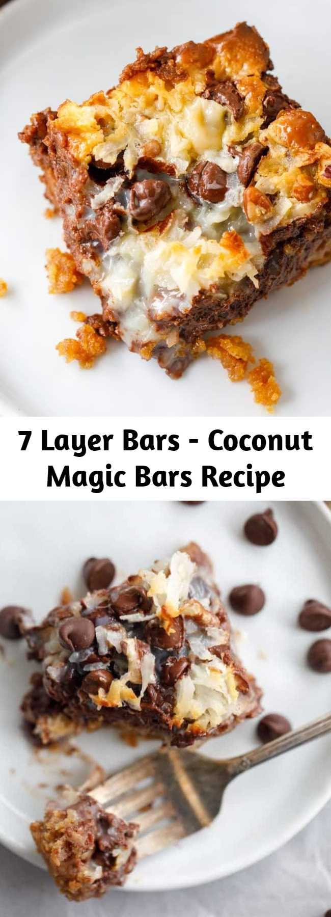 7 Layer Bars - Coconut Magic Bars Recipe - These coconut magic bars are so easy to make that it's almost funny. It doesn't seem like something so TASTY could result from layering a few ingredients in a baking dish. Y'all, these coconut magic bars are like HEAVEN. These ooey-gooey coconut magic cookie bars are my favorite dessert EVER! #Dessert #Coconut #Bars
