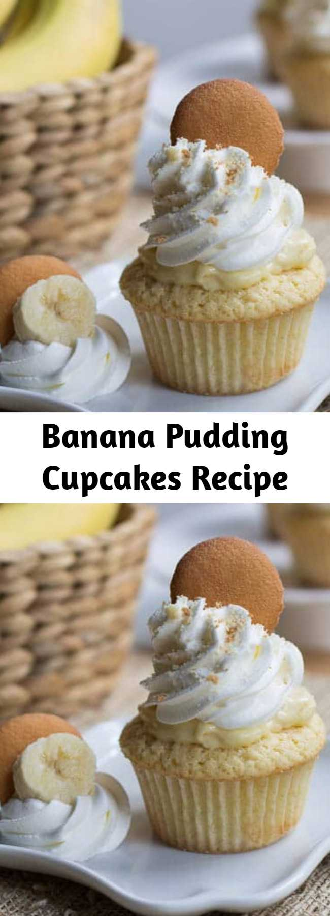 Banana Pudding Cupcakes Recipe - The cupcake version of banana pudding with a creamy pudding center, whipped topping and crushed vanilla wafers. So cool, creamy, and dreamy your taste buds won't know what hit them!