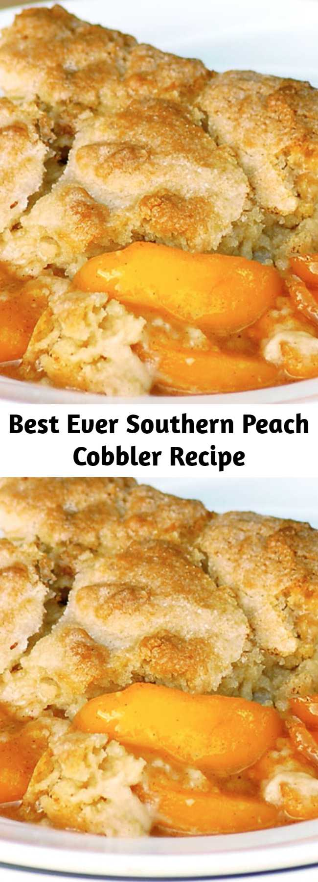 Best Ever Southern Peach Cobbler Recipe - Best Ever Southern Peach Cobbler is the simple recipe of your dreams. Fresh sweet peaches baked in a spiced sugar mixture and topped with the most amazing cobbler topping. Sprinkled with sugar for a caramelized topping it is heaven on a plate. #peachcobbler #summer