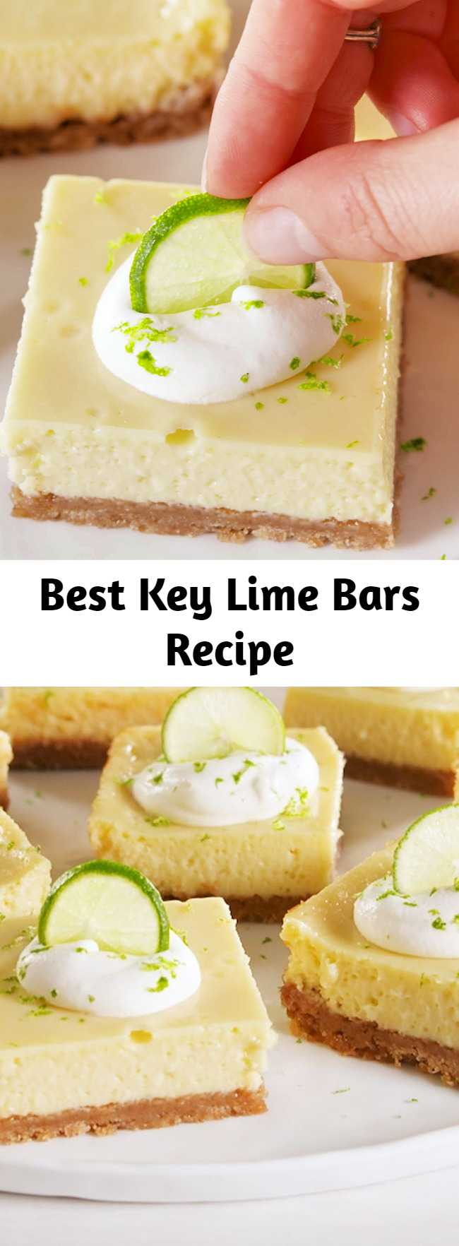 Best Key Lime Bars Recipe - No added sugar is needed in these bars! The ever-magical sweetened condensed milk provides all the sugar you need. #easyrecipe #dessert #baking #keylime #sweets