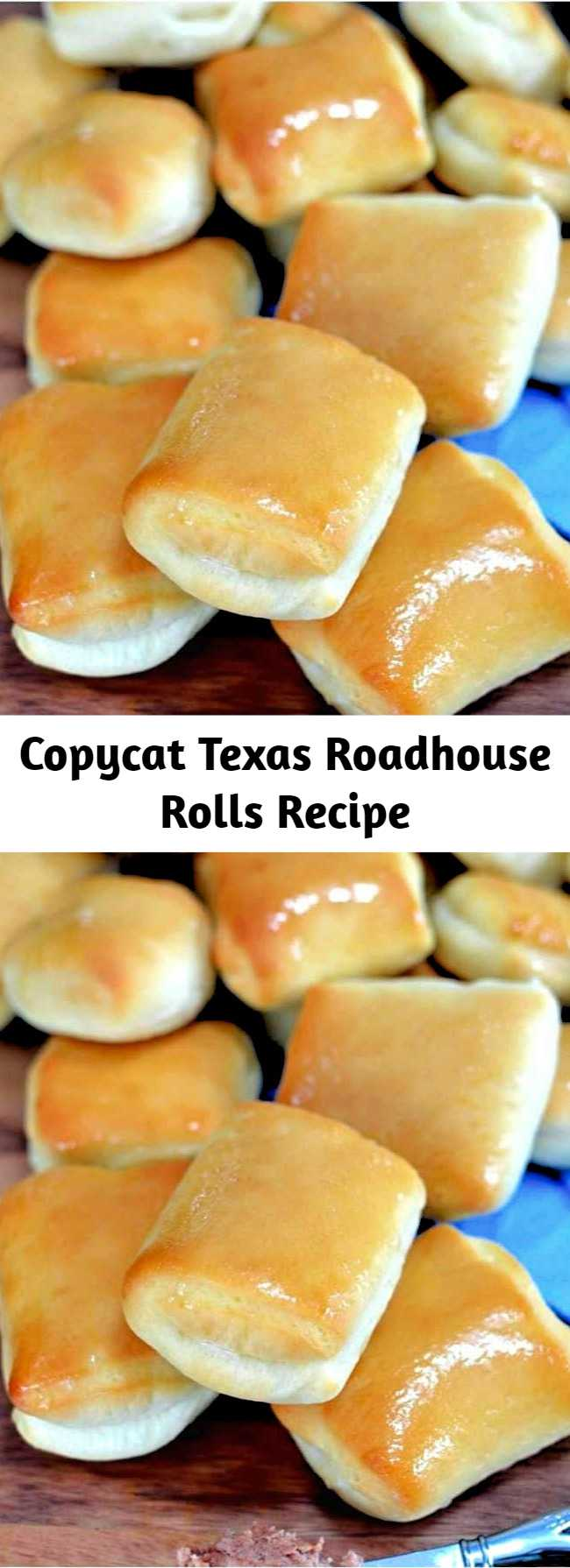 Copycat Texas Roadhouse Rolls Recipe - These Copycat Texas Roadhouse Rolls are brushed with sweet honey butter and can be made in a bread machine or by hand! A perfect side dish idea for holidays and family dinners! #rolls #easy #texasroadhouse #bread #sidedish #sides #copycatrecipes #copycatrecipe