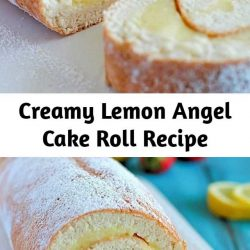 A light & delicious angel cake roll filled with creamy lemon custard. It makes an impressive (lighter) dessert and uses NO butter or oil!
