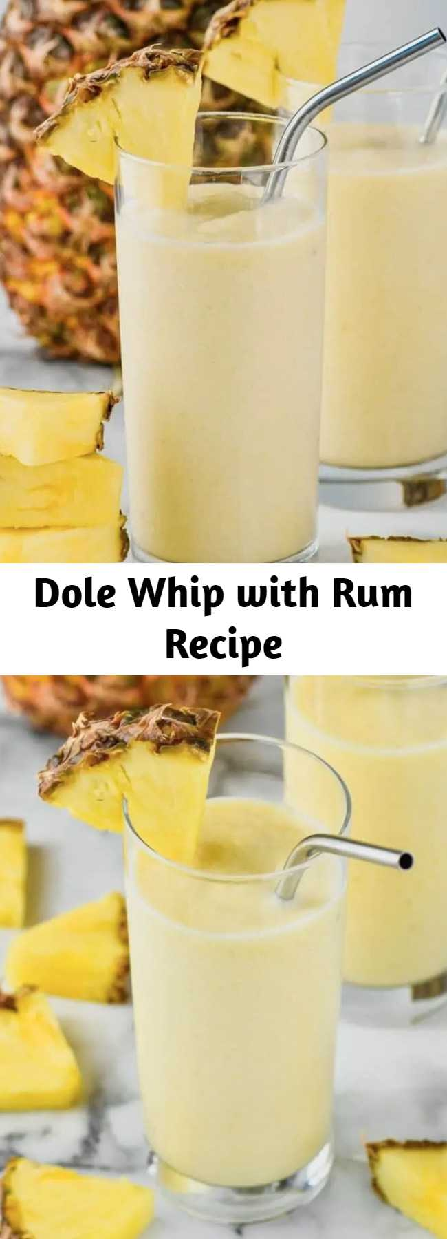 Dole Whip with Rum Recipe - This Disneyland Dole Whip recipe with Rum is the perfect frozen cocktail! Made with only four ingredients, get your sunny vacation fix at home!