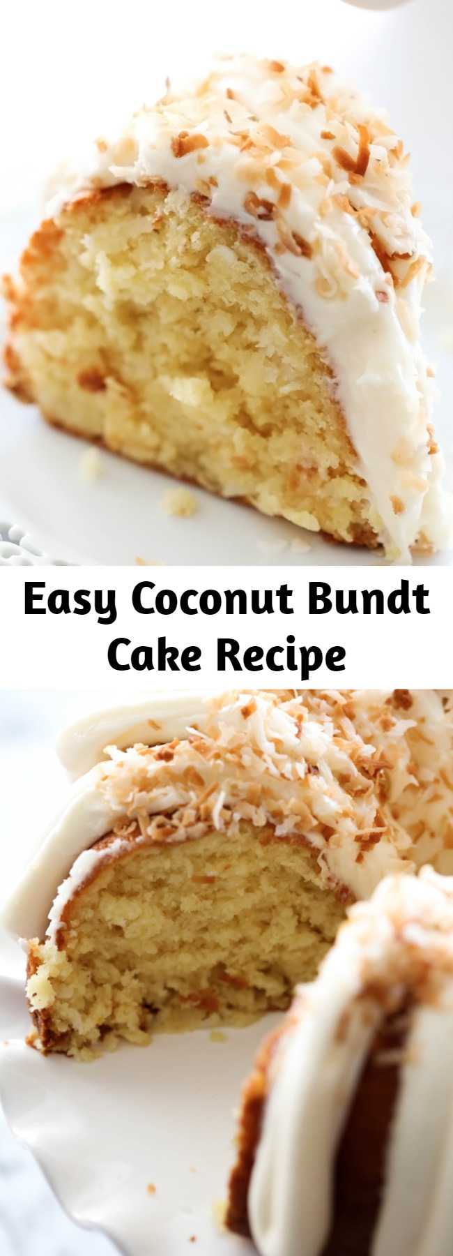 Easy Coconut Bundt Cake Recipe - This is an incredibly moist cake loaded with coconut flavor! The Cream Cheese Frosting on top is the perfect pairing. This cake with be loved by all who try it!