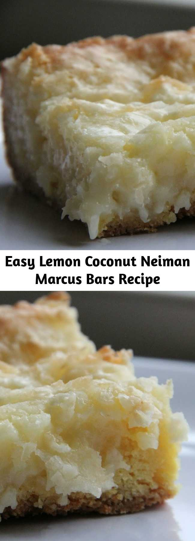 Easy Lemon Coconut Neiman Marcus Bars Recipe - This is it! This is the bar you will make over and over again this spring and summer. Trust me… you'll make it once, everyone will love it and then you'll keep making it for every occasion between now and Labor Day. This is your new favorite bar :).